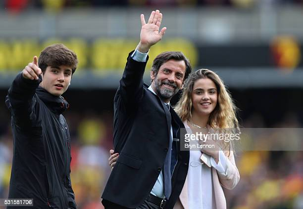 Quique Flores manager of Watford waves to supporters after the Barclays Premier League match between Watford and Sunderland at Vicarage Road on May...