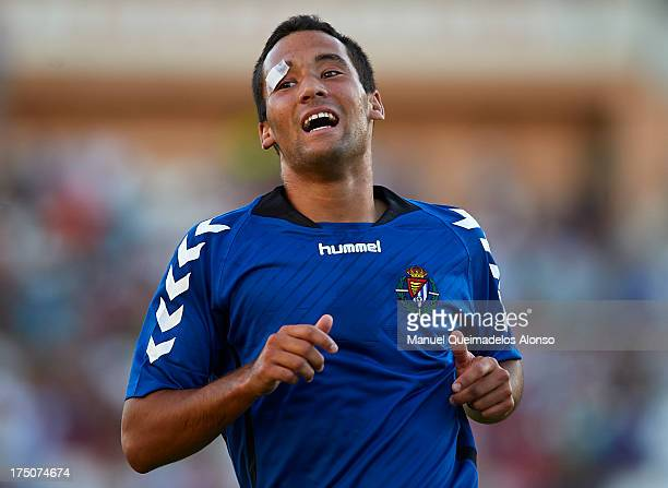 Quique Gonzalez of Valladolid reacts during a friendly match between Abacete and Real Valladolid at Estadio Carlos Belmonte on July 30 2013 in...