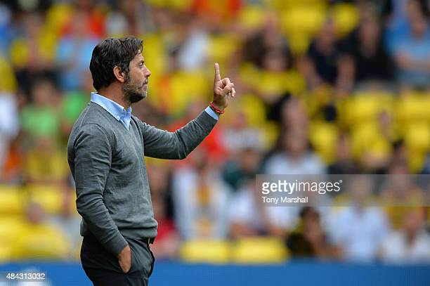 Quique Sanchez Flores Head Coach of Watford during the Barclays Premier League match between Watford and West Bromwich Albion at Vicarage Road on...