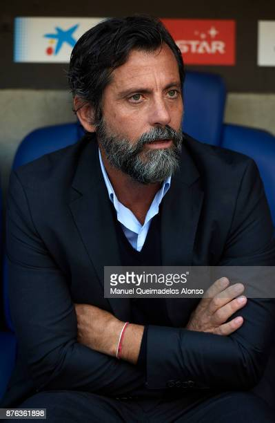 Quique Sanchez Flores Manager of Espanyol looks on prior to the La Liga match between Espanyol and Valencia at CornellaEl Prat stadium on November 19...