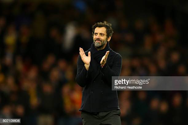 Quique Sanchez Flores manager of Watford celebrates victory after the Barclays Premier League match between Watford and Liverpool at Vicarage Road on...
