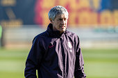 ESP: FC Barcelona Training Session And Press Conference With New Coach Quique Setien