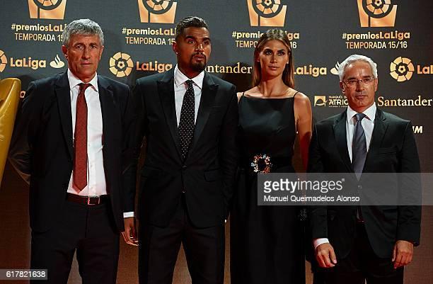 Quique Setien KevinPrince Boateng Melissa Satta and Patricio Vinayo attend the LFP Soccer Awards Gala 2016 at Palacio de Congresos on October 24 2016...