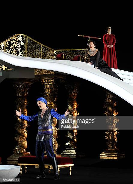 Quirijn de Lang as Mustafa Mary Bevan as Elvira and Katie Bray as Zulma in Garsington Opera's production of Gioachino Rossini's L'Italiana in Algeri...