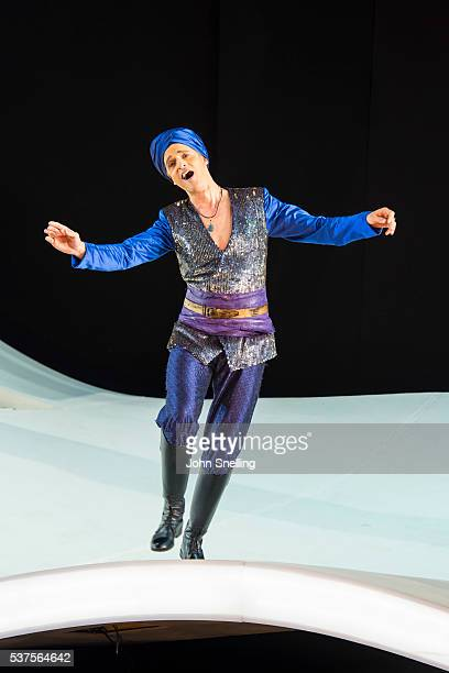Quirijn de Lang as Mustafa performs on stage during a performance of L'italiana in Algeri at Garsington Opera at Wormsley on June 1 2016 in High...