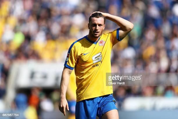 Quirin Moll of Braunschweig appears frustrated during the Second Bundesliga match between DSC Arminia Bielefeld and Eintracht Braunschweig at Schueco...