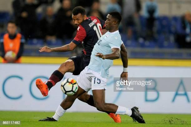 Quissanga Bastos of SS Lazio compete for the ball with Joao Pedro of Cagliari Calcio during the Serie A match between SS Lazio and Cagliari Calcio at...