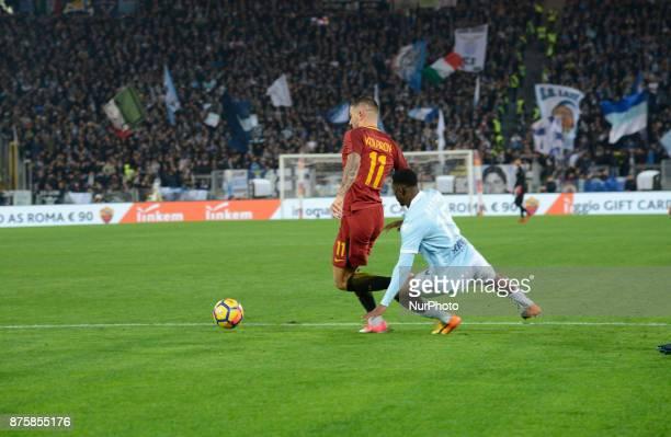 Quissanga Bastos penalty kick on Aleksandar Kolarov during the Italian Serie A football match between AS Roma and SS Lazio at the Olympic Stadium in...