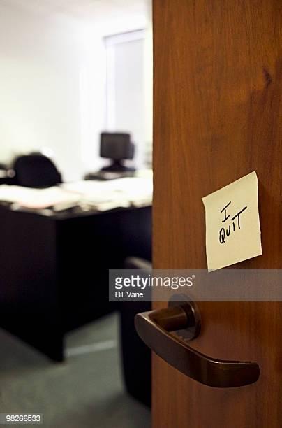 I quit message on office door