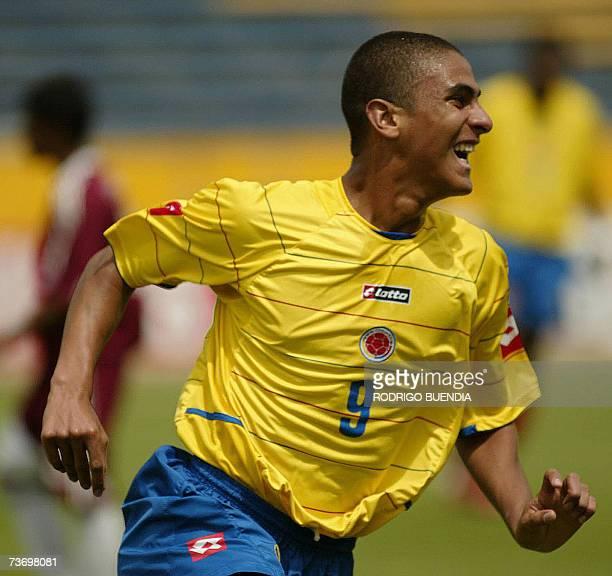 Santiago Trellez de Colombia festeja su gol ante Venezuela en partido de la ronda final del Campeonato Sudamericano sub17 en el estadio Olimpico...