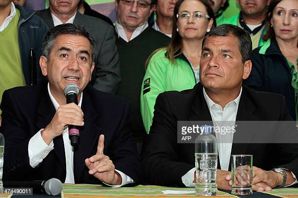 Quito's Mayor and candidate to reelection Augusto Barrera speaks next to Ecuadorean President Rafael Correa during a press conference in Quito on...