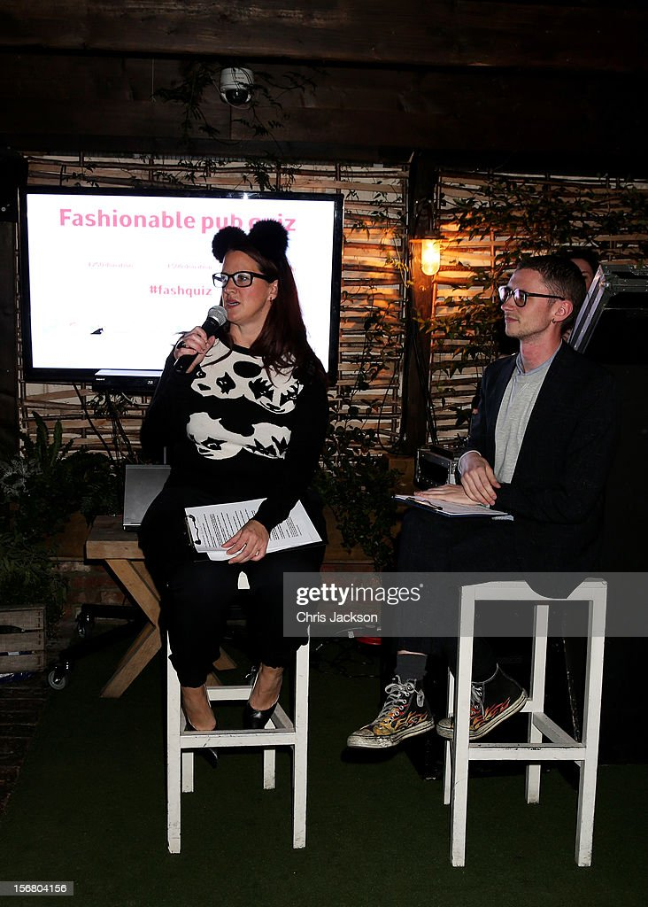Quizmasters Rebecca Ward and Jack Sunnucks host the Vodafone Fashionable Pub Quiz at Shoreditch House on November 21, 2012 in London, United Kingdom. As Principal Sponsor of London Fashion Week, the quiz celebrated Vodafone's commitment to British Fashion.