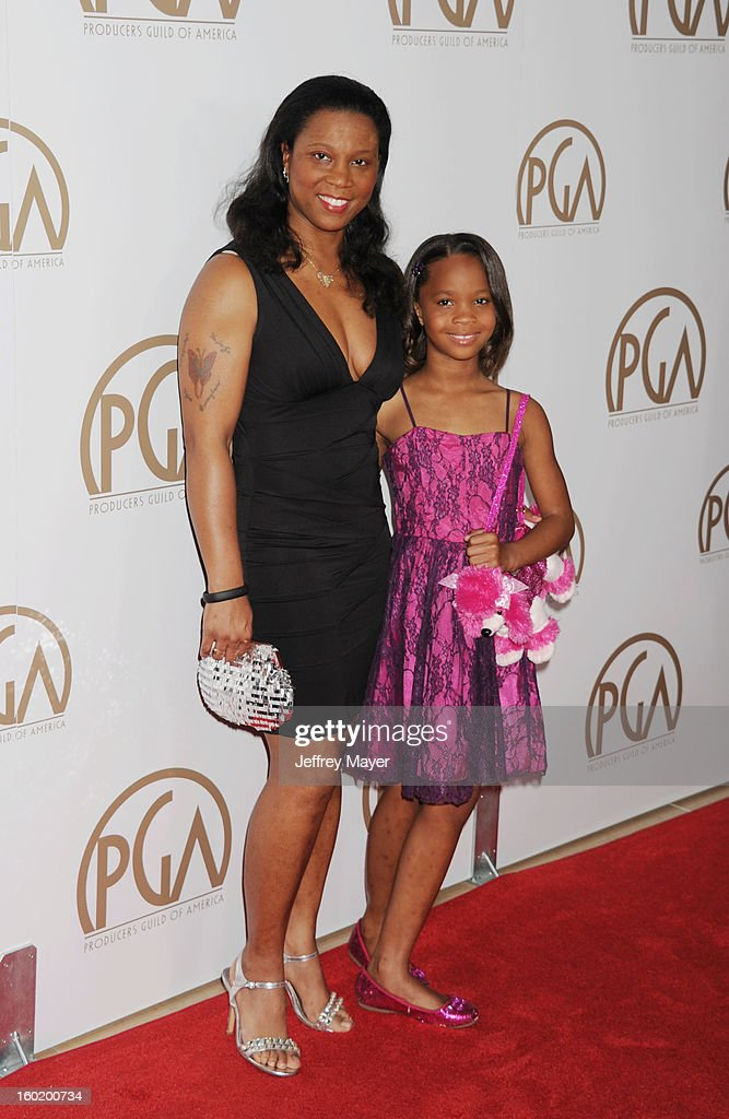 Qulyndreia Wallis and Quvenzhane Wallis arrive at the 24th Annual Producers Guild Awards at The Beverly Hilton Hotel on January 26, 2013 in Beverly Hills, California.