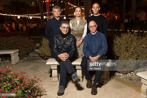 Qumra Masters Alexsandr Sokurov Naomi Kawase Joshua Oppenheimer Nuri Bilge Ceylan and James Schamus as they attend a hosted dinner during the second...
