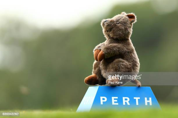 Quokka tee marker is seen on the 3rd hole during previews ahead of the ISPS HANDA World Super 6 Perth at Lake Karrinyup Country Club on February 15...