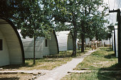 WWII quonset huts on military base 1949, retro