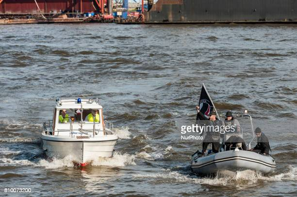 A quotAntifa Boatquot is stopped by the police in Hamburg Germany on July 6 2017 The police stopped the leftradical demonstration quotG20 Welcome to...