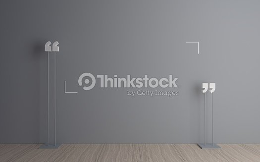 Quotation mark in the room : Stock Photo