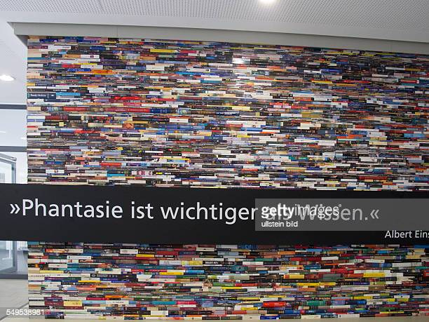 quotation of Albert Einstein 'Phantasy is more important than knowledge' on a wall of Hanover University of Applied Science
