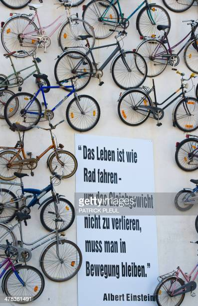 A quote by Albert Einstein reading 'Life is like riding a bicycle To keep your balance you must keep moving' is fixed along with 210 old bikes on the...