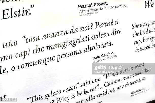 Quotes from literature about gelato Italian icecream decorate the walls at the Carpigiani Gelato Museum on March 28 2017 in Bologna Italy Italian...