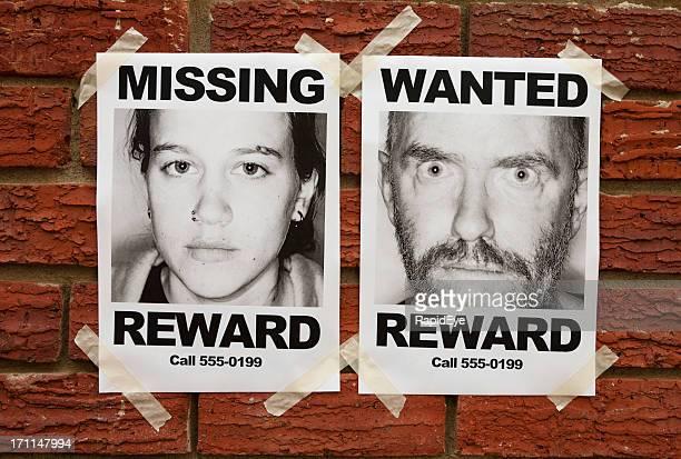 «Missing» et «voulais'affiches scellées pour mur de briques