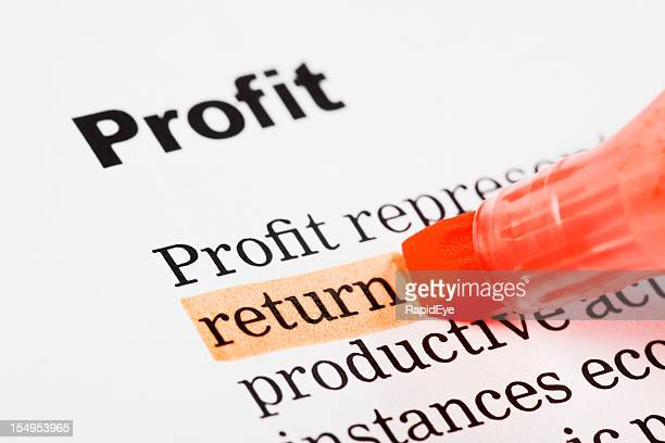 """return"" highlighted in red on printed document headed ""Profit"""