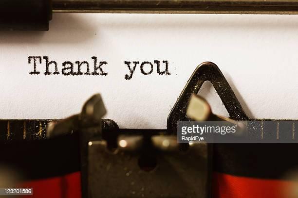 """""""Thank you"""" on vintage manual typewriter"""