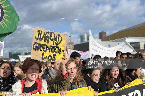 quotYouth borderlessquot is written during the School and University strike Berlin at in Berlin Germany on a sign of a demonstrator More than 1000...