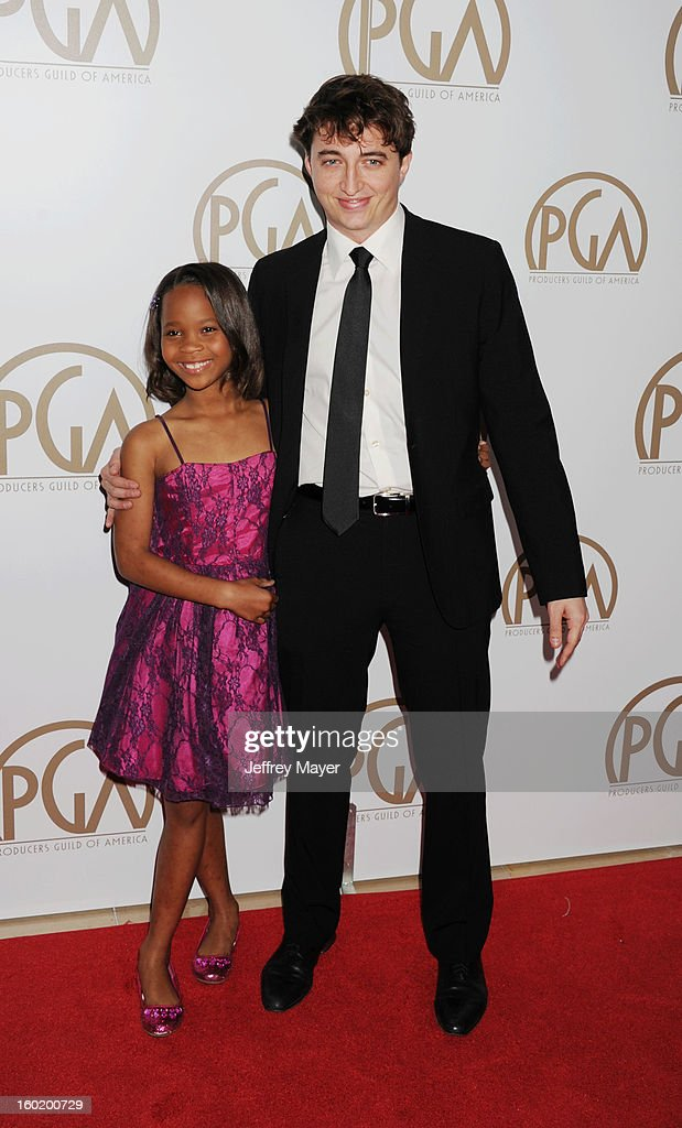 Quvenzhane Wallis and Benh Zeitlin arrive at the 24th Annual Producers Guild Awards at The Beverly Hilton Hotel on January 26, 2013 in Beverly Hills, California.