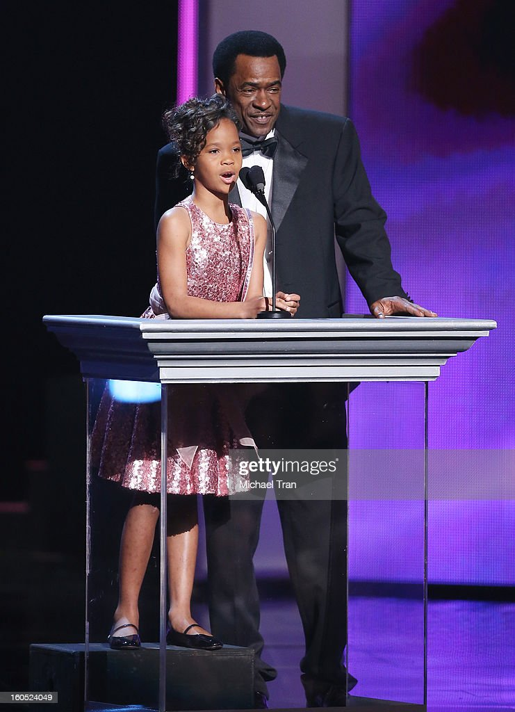 Quvenzhane Wallis and Dwight Henry speak at the 44th NAACP Image Awards - show held at The Shrine Auditorium on February 1, 2013 in Los Angeles, California.