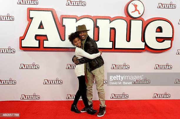 Quvenzhane Wallis and Jamie Foxx attend a photocall for 'Annie' at Corinthia Hotel London on December 16 2014 in London England