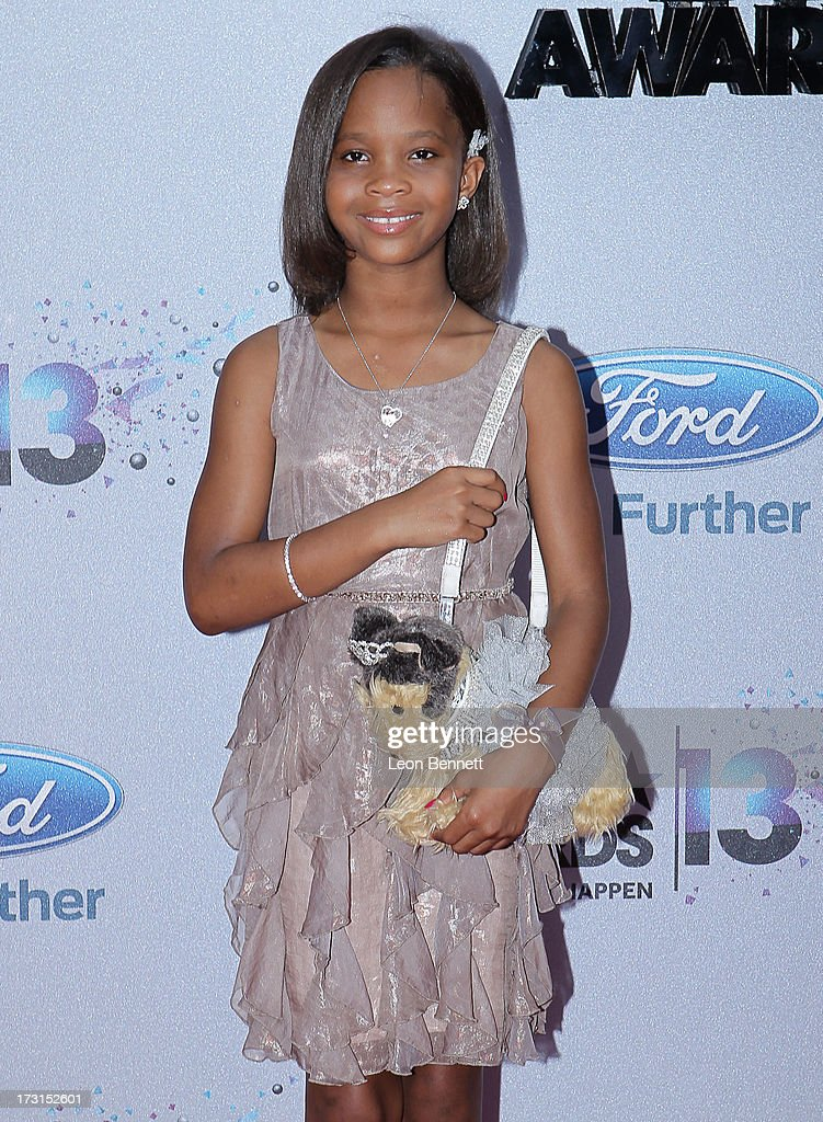 Quvenzhane Wallis arrives at the 2013 BET Awards Make A Wish Arrivals at Nokia Plaza L.A. LIVE on June 30, 2013 in Los Angeles, California.