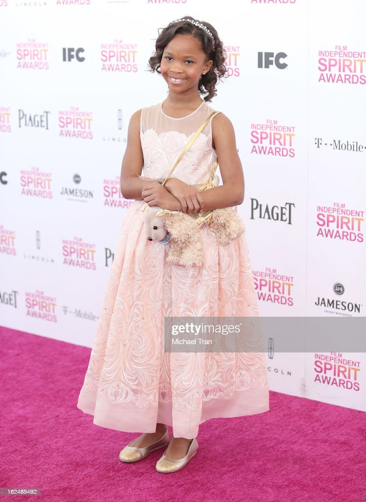 Quvenzhane Wallis arrives at the 2013 Film Independent Spirit Awards held on February 23, 2013 in Santa Monica, California.