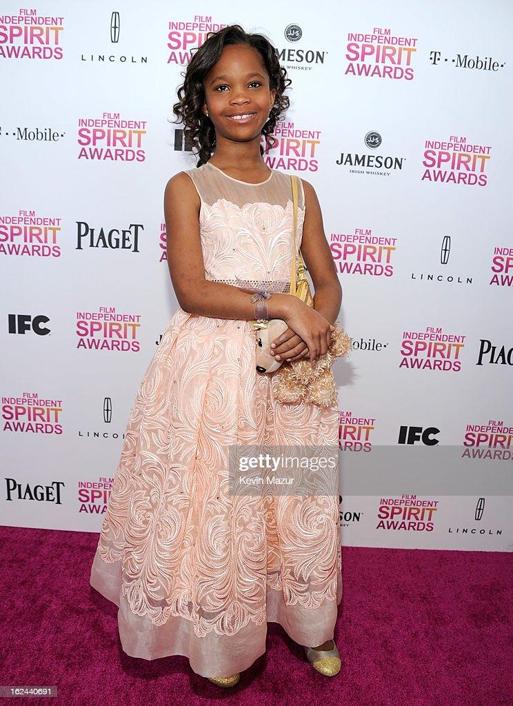 Quvenzhane Wallis attends the 2013 Film Independent Spirit Awards at Santa Monica Beach on February 23, 2013 in Santa Monica, California.