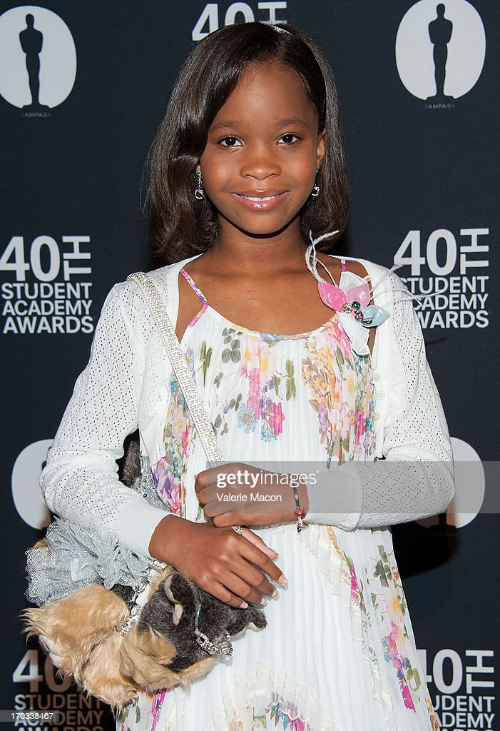 Quvenzhane Wallis attends The Academy Of Motion Picture Arts And Sciences' 40th Annual Student Academy Awards Ceremony at AMPAS Samuel Goldwyn...