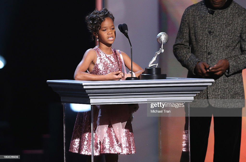 Quvenzhane Wallis speaks at the 44th NAACP Image Awards - show held at The Shrine Auditorium on February 1, 2013 in Los Angeles, California.