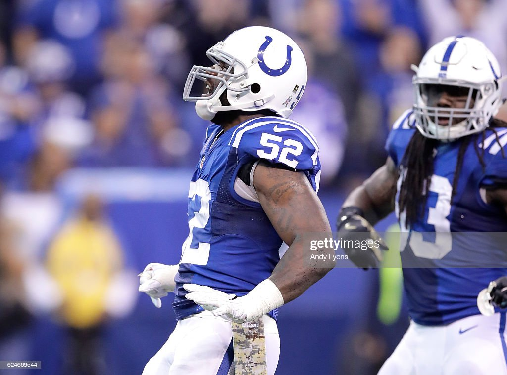 D'Qwell Jackson #52 of the Indianapolis Colts celebrates after a sack during the game against the Tennessee Titans at Lucas Oil Stadium on November 20, 2016 in Indianapolis, Indiana.