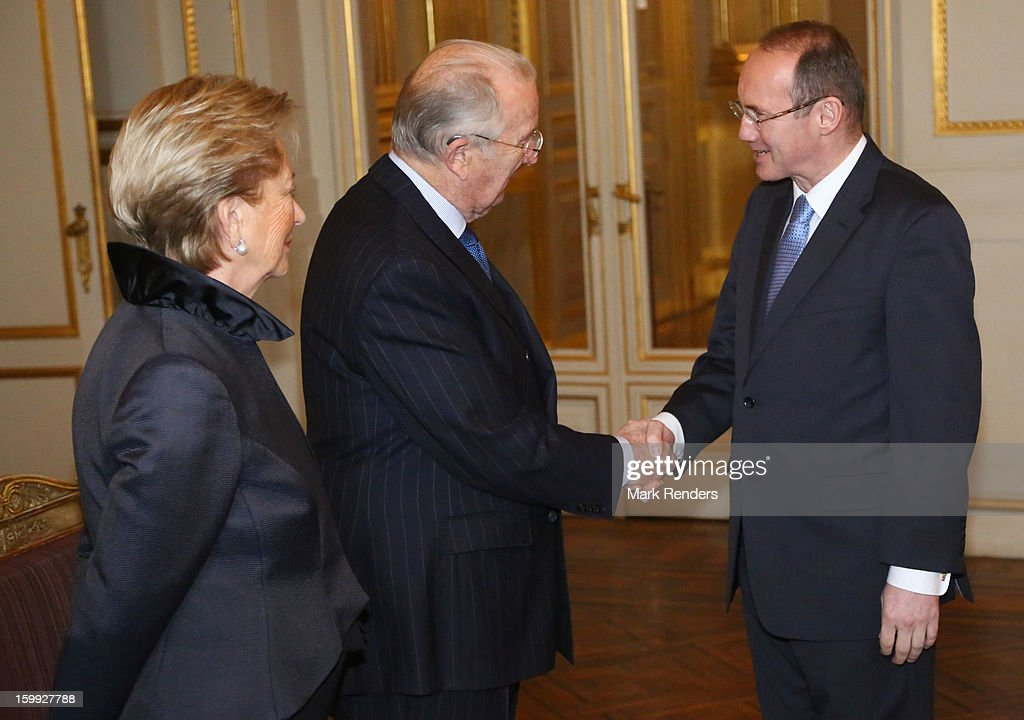 Qyeen Paola, King Albert of Belgium and Vice President of the European Parliament Othmar Karas attend a New Year reception for the European Commission Officials at Palais de Bruxelles on January 23, 2013 in Brussel, Belgium.