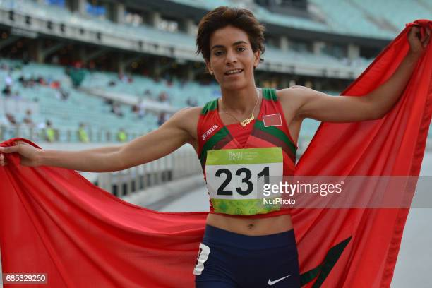Rababe Arafi of Morocco celebrates her win in Women's 1500m final during day four of Athletics at Baku 2017 4th Islamic Solidarity Games at Baku...