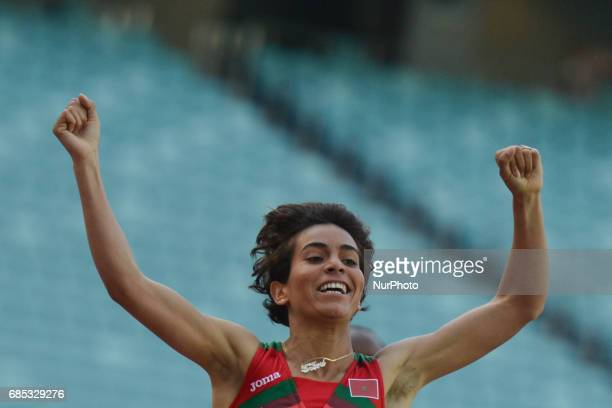 Rababe Arafi of Morocco takes the win in Women's 1500m final during day four of Athletics at Baku 2017 4th Islamic Solidarity Games at Baku Olympic...