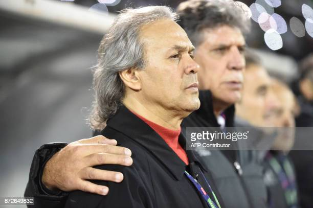 Rabah Madjer coach of Algeria football team looks on during a World Cup 2018 qualifying football match between Algeria and Nigeria at MohamedHamlaoui...