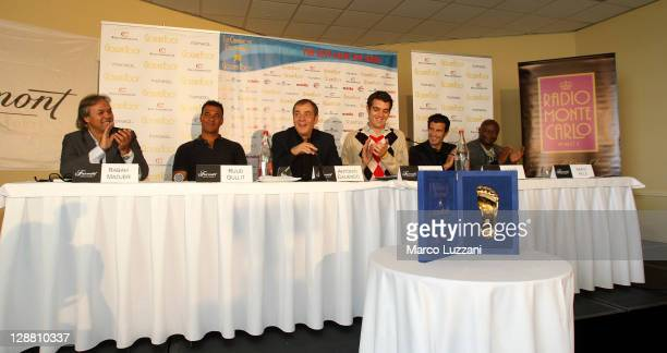 Rabah Madjer Ruud Gullit Antonio Caliendo Giancarlo Bizzio Luis Figo and Abedi Pele during the Golden Foot Awards press conference on October 10 2011...