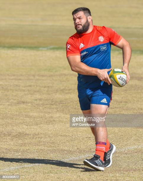 Rabah Slimani of France's rugby team warms up during the Castle Lager Incoming Series French Captains run at Saint Peter College Johannesburg on June...