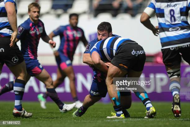 Rabah Slimani of Stade Francais during the European Challenge Cup semi final between Stade Francais and Bath on April 23 2017 in Paris France