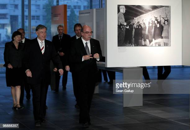 Rabbi Andreas Nachama Director of the Topography of Terror documentation center and museum guides German President Horst Koehler through the center's...