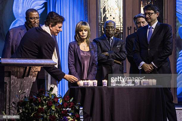 Rabbi David Baron Reverend Ronald V Meyers Sr Dr J Benjamin Hardwick Stephen Macht and Axel Cruau attend Shabbat Service Honoring Paris Terrorist...