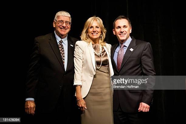 Rabbi David M Horowitz PFLAG national president Dr Jill Biden wife of Vice President Joe Biden and Jody M Huckaby Executive Director of PFLAG pose...