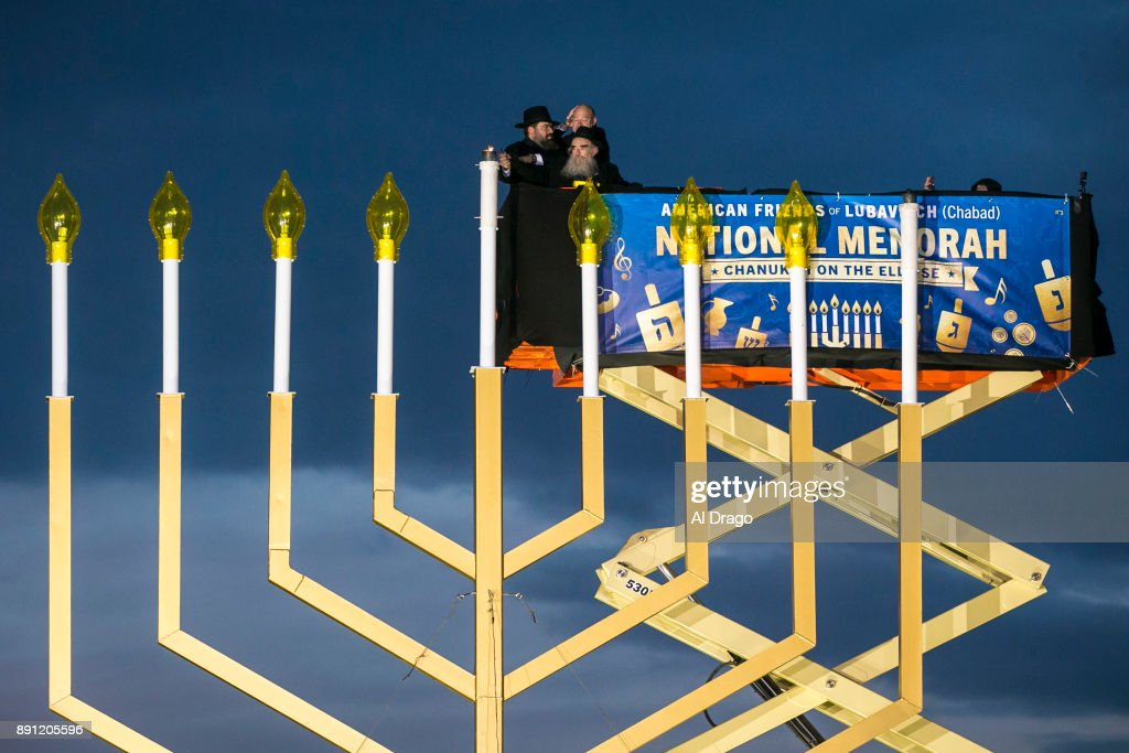 Annual National Hanukkah Menorah Lighting Ceremony Held At DC's Ellipse