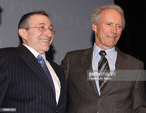 Rabbi Marvin Hier and director Clint Eastwood speak during the Museum of Tolerance International Film Festival Gala on November 14 2010 in Los...